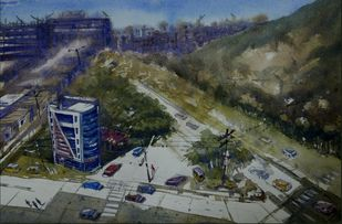 City Scape by Krishnendu Halder, Impressionism Painting, Watercolor on Paper, Green color