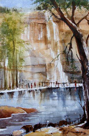 Mallela tirtham by Krishnendu Halder, Impressionism Painting, Watercolor on Paper, Brown color