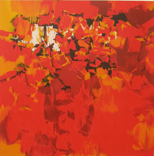 Trishna by S H Raza, Abstract Serigraph, Serigraph on Paper, Red color