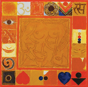 Rasa by S H Raza, Expressionism Serigraph, Serigraph on Paper, Orange color