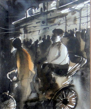 Untitled by Paresh Maity, Impressionism Painting, Watercolor on Paper, Gray color