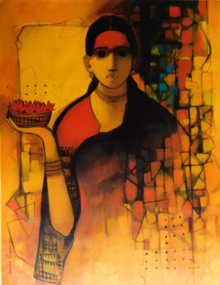 Blossom In Her Eyes by Sachin Sagare, Traditional Painting, Acrylic on Canvas, Green color