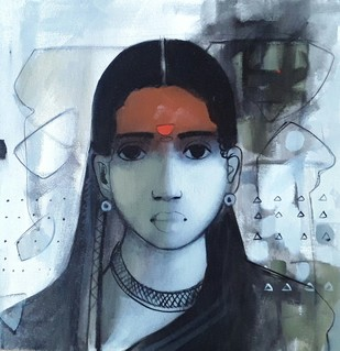 Face 1 by Sachin Sagare, Traditional Painting, Acrylic on Canvas, Brown color