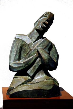 Musician by Bimal Kundu, Art Deco Sculpture | 3D, Bronze, White color