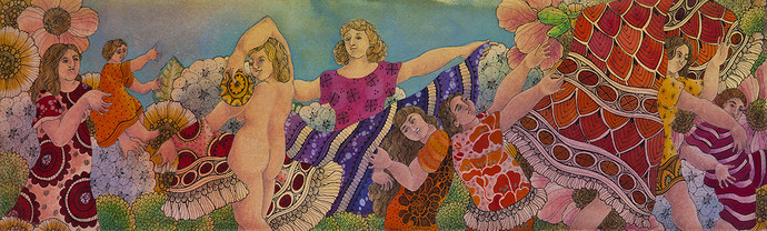 Let's Play Together by Maya Burman, Decorative Painting, Watercolor & Ink on Paper, Brown color