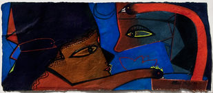 Untitled by Paresh Maity, Expressionism Painting, Watercolor on Paper, Blue color