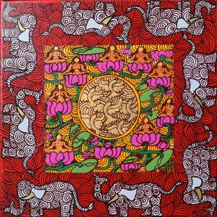 The Golden Womb Series by Seema Kohli, Tribal Painting, Mixed Media on Canvas, Brown color
