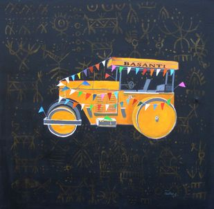 Roller God by Tushar Waghela, Pop Art Painting, Acrylic on Canvas, Blue color
