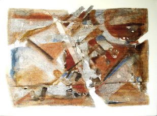 Untitled by Yusuf, Abstract Painting, Acrylic & Ink on Canvas, Beige color