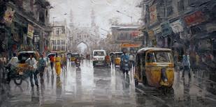 Wet Charmianar St 02 by Iruvan Karunakaran, Impressionism Painting, Acrylic on Canvas, Gray color