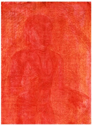 The Poet's Passion by V Ramesh, Impressionism Painting, Watercolor on Paper, Red color