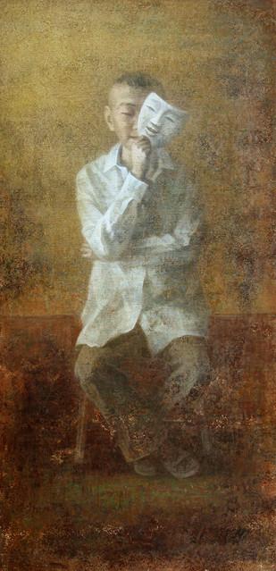 Un jeu de Masque by Wang Gang, Impressionism Painting, Oil on Linen, Brown color