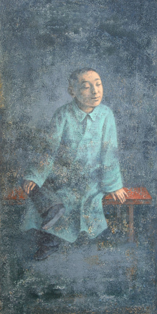 Banc Rouge by Wang Gang, Impressionism Painting, Oil on Linen, Green color