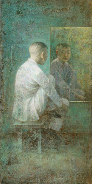 Au Miroir by Wang Gang, Impressionism Painting, Acrylic on Canvas, Green color