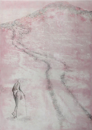 Untitled by V Ramesh, Impressionism Painting, Oil on Canvas, Pink color