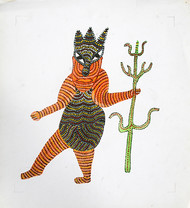 gond tribal painting by Jangarh Singh Shyam, Folk Painting, Pen & Ink on Paper, Gray color