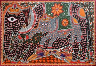 Madhubani Painting by Baua Devi, Folk , Acrylic on Canvas, Brown color