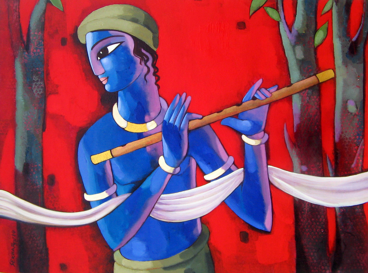 Krishna by Sekhar Roy, Decorative Painting, Acrylic on Canvas, Red color