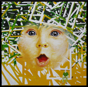 Curiosity by Shovin Bhattacharjee, Pop Art Painting, Acrylic on Canvas, Beige color