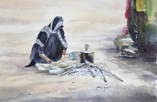 Alone by Rajat Subhra Bandopadhyay, Impressionism Painting, Watercolor on Paper, Gray color