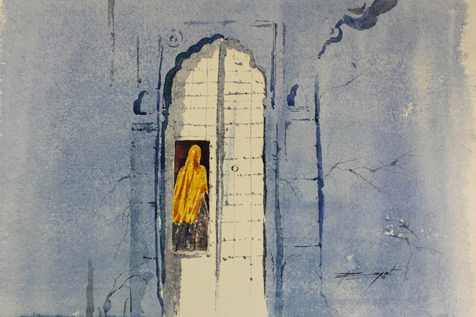 My Home by Rajat Subhra Bandopadhyay, Impressionism Painting, Watercolor on Paper, Gray color