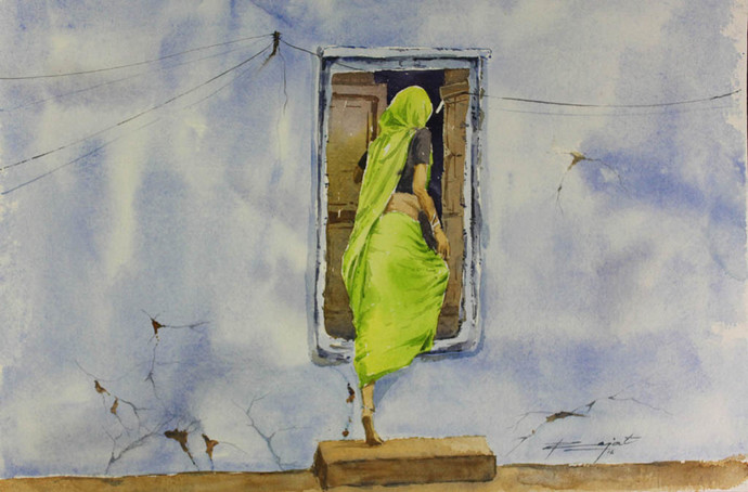 Step In by Rajat Subhra Bandopadhyay, Impressionism Painting, Watercolor on Paper, Gray color