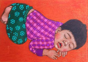 Lullaby 6 by Meena Laishram, Traditional Painting, Dry Pastel on Paper, Beige color