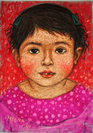 innocent look 5 by Meena Laishram, Traditional Painting, Dry Pastel on Paper, Brown color