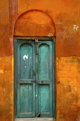 Door of Envy by Sanjay Nanda, Image Photograph, Digital Print on Canvas, Orange color