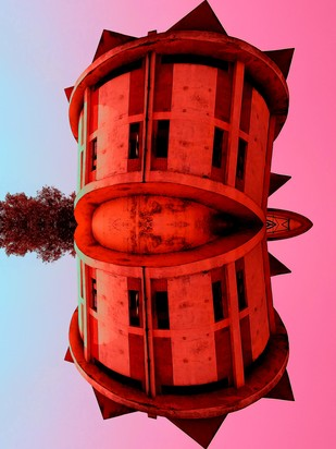 Landing In Benaras by Pankaj Mullick, Digital Digital Art, Digital Print on Enhanced Matt, Red color