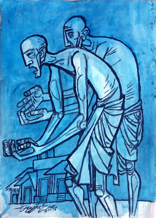 Two Old Men by Gujjarappa B G, Expressionism Painting, Acrylic & Ink on Paper, Blue color