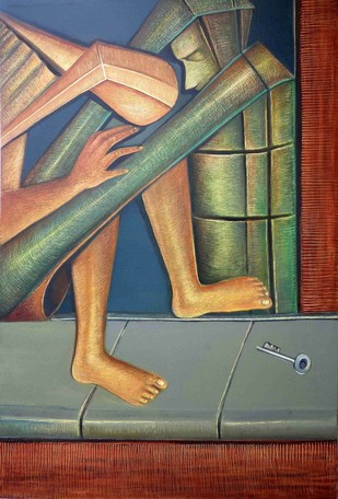 Consolation by Niku Guleria, Expressionism Painting, Oil on Canvas, Brown color