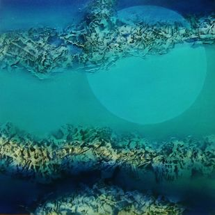 Moon by Archana Mishra , Abstract Painting, Acrylic on Canvas, Green color