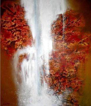 Waterfall by Archana Mishra , Abstract Painting, Acrylic on Canvas, Red color