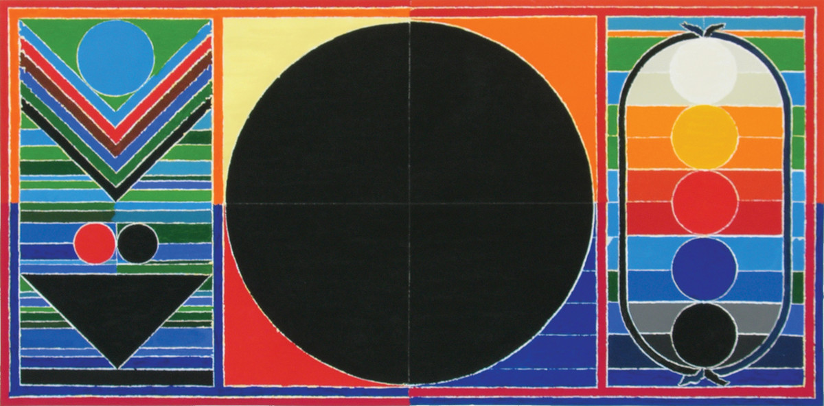 Panchtatva by S H Raza, Geometrical Serigraph, Serigraph on Paper, Blue color