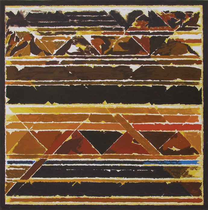 Vistar by S H Raza, Geometrical Serigraph, Serigraph on Paper, Brown color