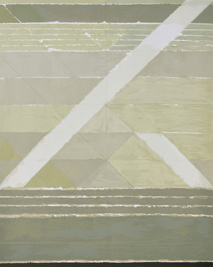 Diagonales by S H Raza, Geometrical Serigraph, Serigraph on Paper, Beige color