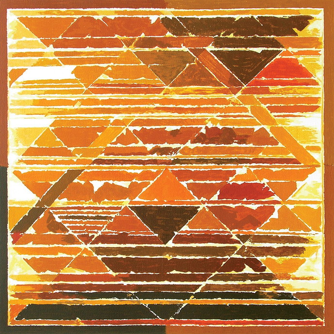 Earth by S H Raza, Geometrical Serigraph, Serigraph on Paper, Brown color