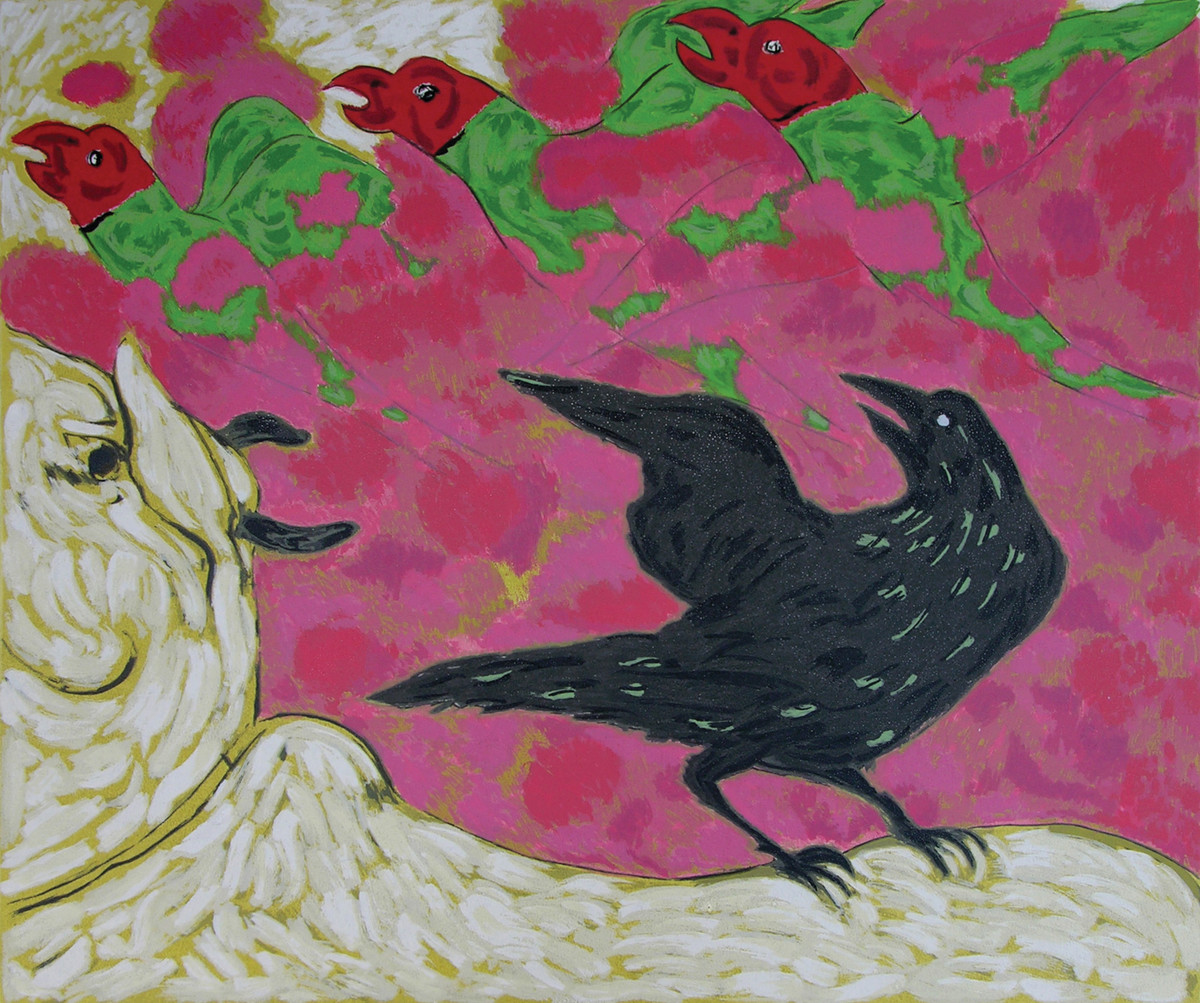 Cuckoo Crow at Nathdwara by Amit Ambalal, Impressionism Serigraph, Serigraph on Paper, Purple color