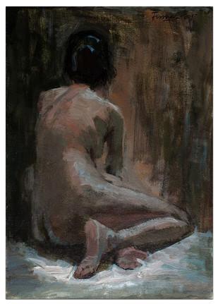 Nude 01 by Tushar Moleshwari, Impressionism Painting, Acrylic on Canvas, Gray color
