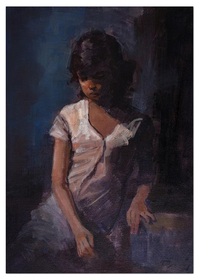 Untitled 01 by Tushar Moleshwari, Impressionism Painting, Acrylic on Canvas, Gray color