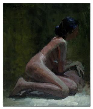 Nude by Tushar Moleshwari, Impressionism Painting, Acrylic on Canvas, Gray color