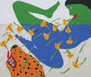 Apsara - 1 by Amit Ambalal, Expressionism Serigraph, Serigraph on Paper, Blue color