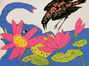 Cuckoo crow at Nathdwara - 2 by Amit Ambalal, Expressionism Serigraph, Serigraph on Paper, Pink color
