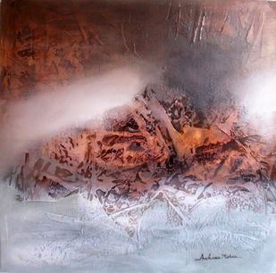 volcano by Archana Mishra , Abstract Painting, Acrylic on Canvas, Brown color
