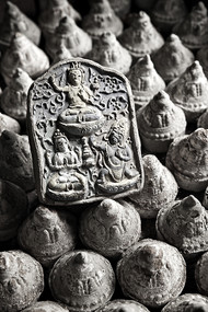 Tsa-Tsa Offerings 1 by Sanjay Nanda, Image Photograph, Digital Print on Canvas, Gray color