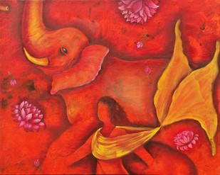 Power by Rupal Buch, Decorative Painting, Oil & Acrylic on Canvas, Red color