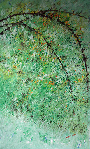 Untitled by Palash chandra naskar, Impressionism Painting, Acrylic on Acrylic Sheet, Green color