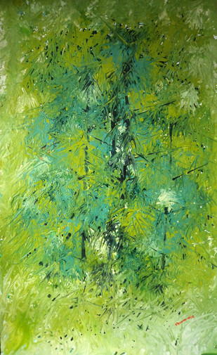 Nature by Palash chandra naskar, Impressionism Painting, Acrylic on Acrylic Sheet, Green color