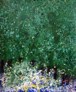 Nature by Palash chandra naskar, Abstract Painting, Acrylic on Acrylic Sheet, Green color